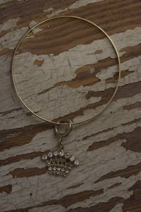 Crown Charm Bangle