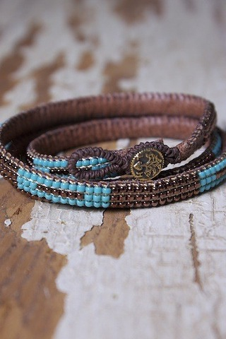 Love Heals Turquoise Loomed Cuff