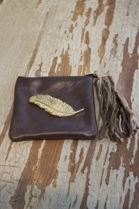 Brown Leather Coin Purse with Feather Charm