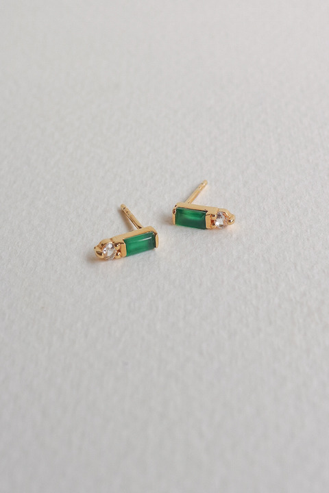 Curious Creatures Juliette Ear Studs Green Onyx