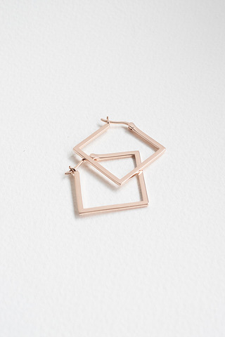 Curious Creatures Square Hoops Rose Gold