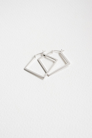 Curious Creatures Square Hoops Silver
