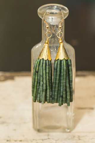 Love Poppy Jewels Green Tassel Earrings