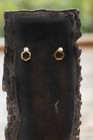 Love Poppy Jewels Hexagon Studs