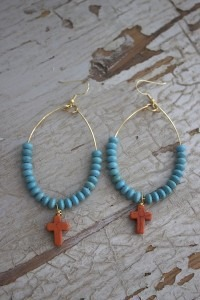 Orange Cross Earrings