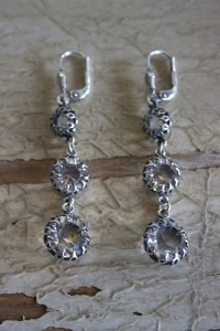 Antiqued Silver Triple Crystal Earrings