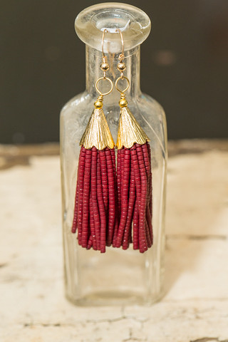 Love Poppy Jewels Wine Tassel Earrings