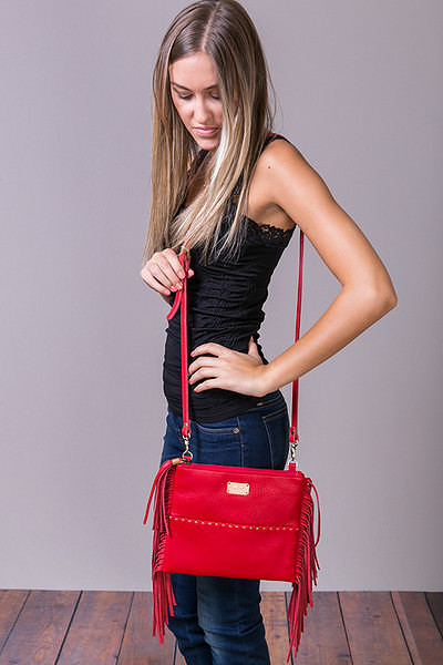 Fredd & Basha Oakley Cross Body Fringe Red 2