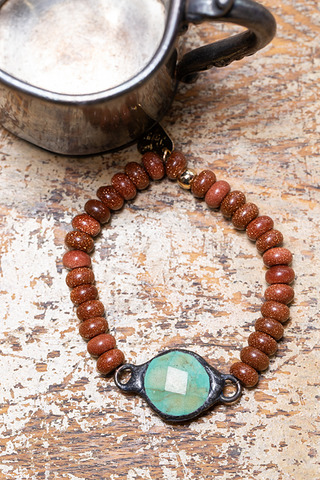 Love Poppy Jewels Goldstone Beaded Turquoise Bracelet