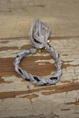 Ettika Grey Rhinestone Chain Braided Bracelet