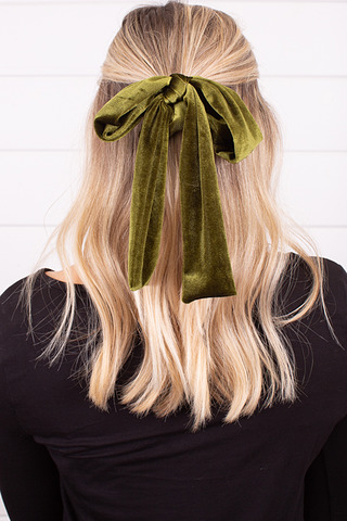 Green Velvet Tie Scrunchie
