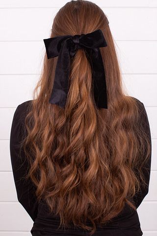 Velvet Black Bow Tie Scrunchie