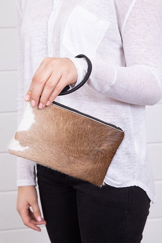 BB Pouch Brown and White