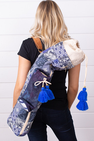 Lovestitch Blue Chambray Patchwork Yoga Bag