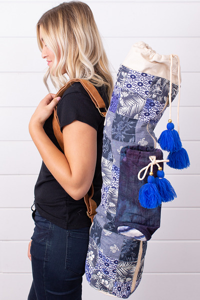 Lovestitch Blue Chambray Patchwork Yoga Bag 2