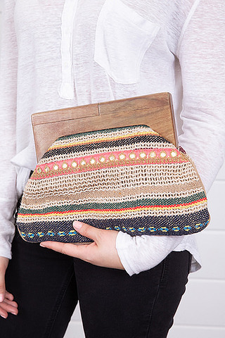 Lovestitch Wood Handle Clutch