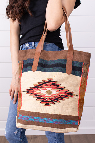 Lovestitch Natural Ikat Carpet Bag