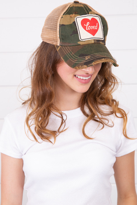 Live Happy Co Camo Loved Hat