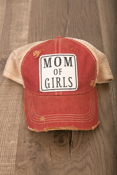 Live Happy Co. Mom Of Girls Hat Maroon 2