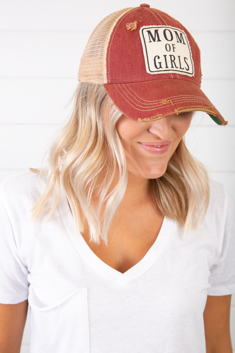 Live Happy Co. Mom Of Girls Hat Maroon
