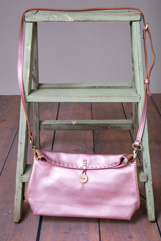 Fredd & Basha Henri Cross Body Bag Metallic Pink