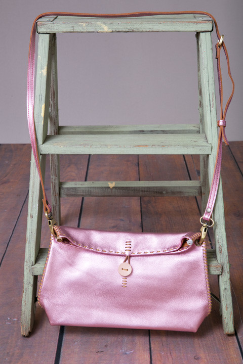 Fredd Basha Henri Cross Body Bag Metallic Pink