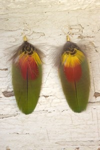 Hunter Green Feather Earrings