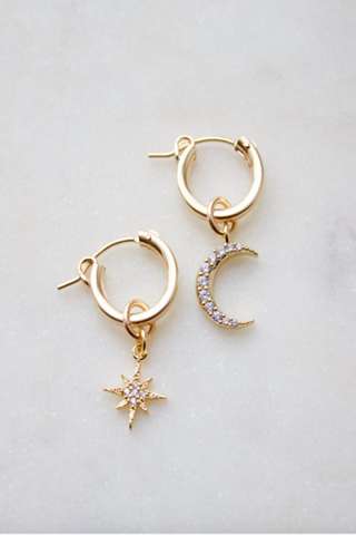 Katie Waltman Gold Star and Moon Hoops