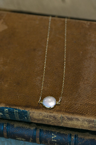 Pearl Sliced Stone Necklace