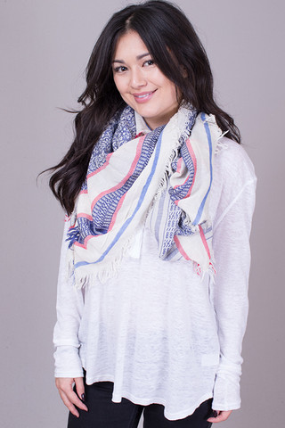 Lovestitch Raw Edge Navy Printed Scarf
