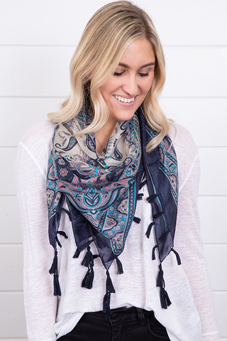 Lovestitch Tassel Trim Silk Scarf