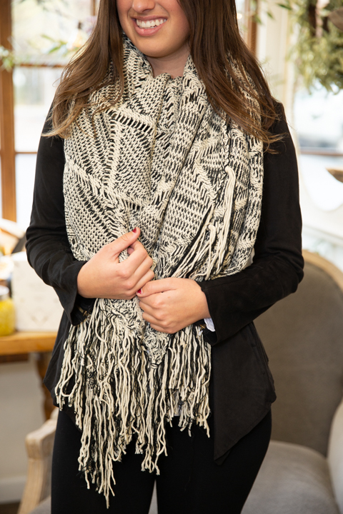 Mystree Black and White Fringe Poncho 5
