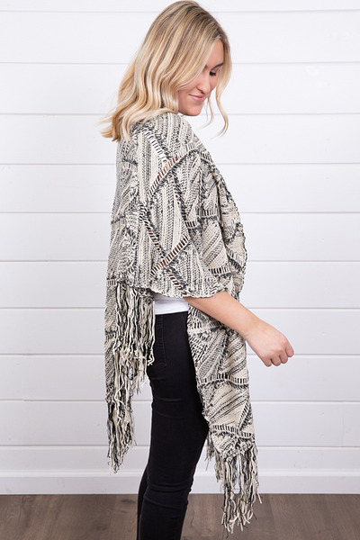 Mystree Black and White Fringe Poncho 2