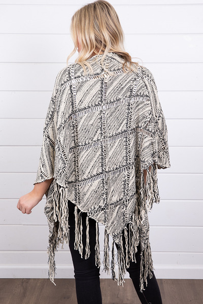 Mystree Black and White Fringe Poncho 3