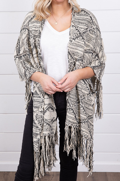 Mystree Black and White Fringe Poncho 4