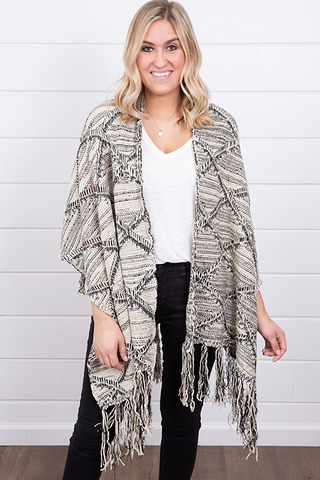 Mystree Black and White Fringe Poncho