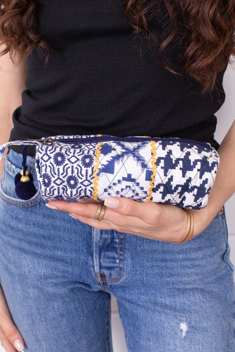 Lovestitch Navy Multi Patterned Makeup Bag