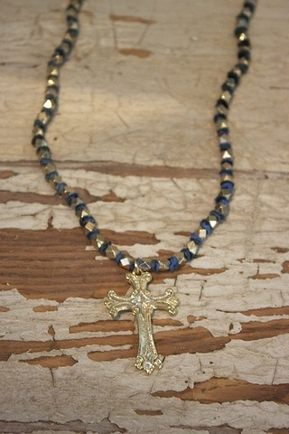 Blue Ribbon Necklace w..
