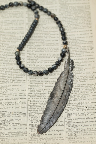 Love Poppy Jewels Charcoal Feather Necklace