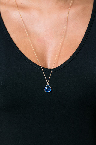 London Manori GF Long Necklace Blue Quartz