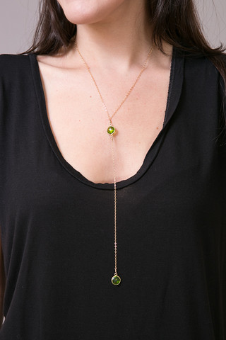 London Manori Green Quartz Lariat