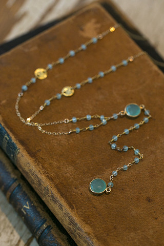 London Manori Aquamarine Rosary Necklace