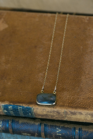 London Manori Labradorite Sliced Stone Necklace