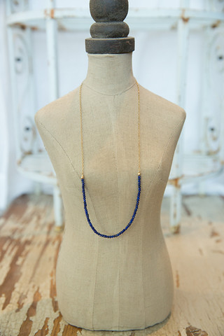 London Manori Lapis Beaded Stone Necklace