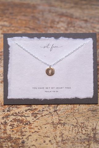 Dear Heart Set Free Silver Necklace
