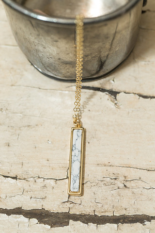 Love Poppy Jewels White Marble Bar Necklace