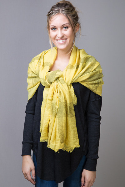 Printed Lace Border Scarf Yellow