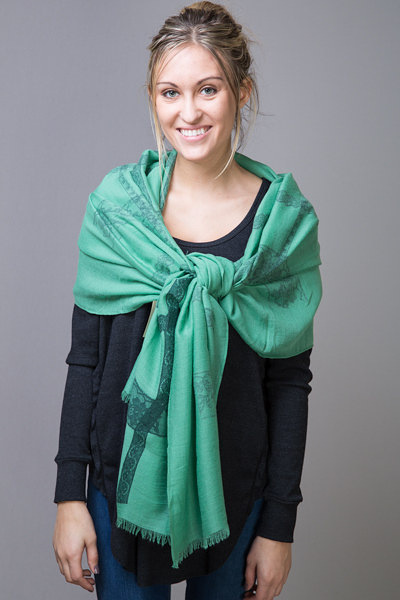 Printed Lace Border Scarf Green