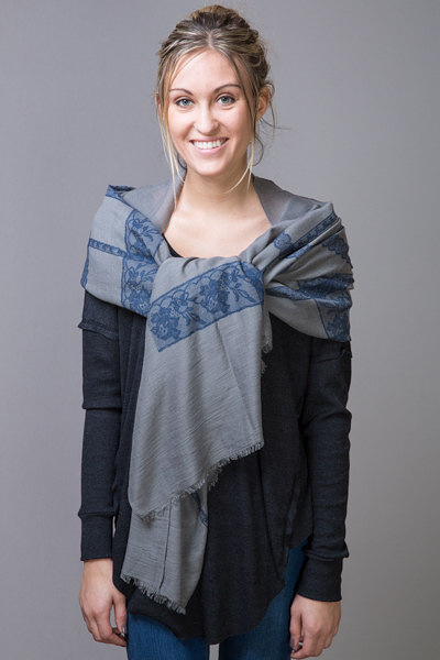 Printed Lace Border Scarf Grey