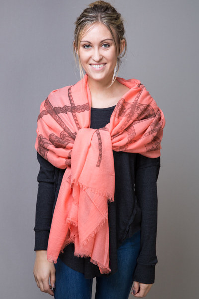 Printed Lace Border Scarf Coral